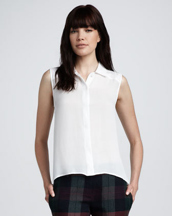 Theory Sleeveless White Blouse