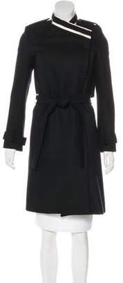 Bouchra Jarrar Silk-Trimmed Wool Coat