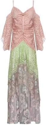 Peter Pilotto Cold-shoulder Ruched Metallic Color-block Lace Maxi Dress