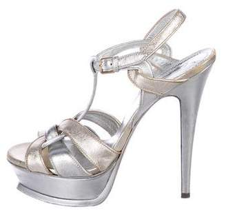 Saint Laurent Metallic Platform Sandals
