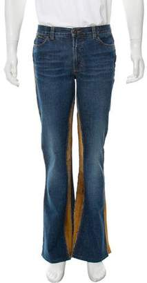 Dolce & Gabbana Suede-Accented Bootcut Jeans