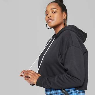 Wild Fable Women's Plus Size Cropped Hoodie - Wild Fable Black