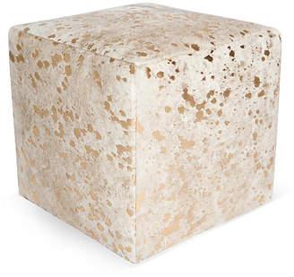 "Le-Coterie Cube 18"" Pouf - White/Gold Dot"