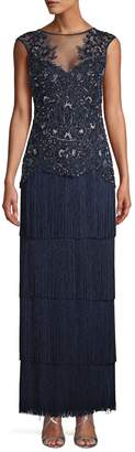 Aidan Mattox Beaded Sleeveless Fringe Dress