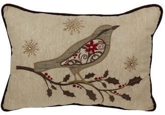 Xia Home Fashions Bird on Twig Emboridery Lumbar Pillow