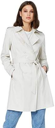FIND Women's Trench Coat with Shoulder Epaulets, Belt, Long Sleeves and Wing Collar,(Manufacturer size: X-Large)