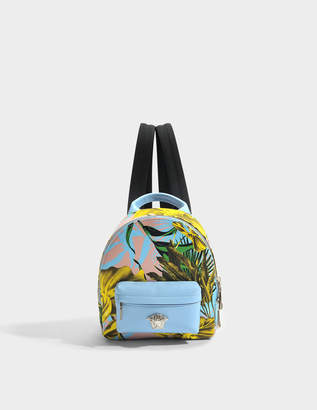 Versace Medusa Small Backpack in Multicolour Baby Blue Calf and Drill Cotton