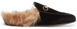 Gucci Princetown Horsebit-detailed Shearling-lined Velvet Slippers - Black