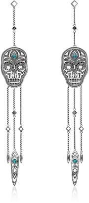 Thomas Sabo Blackened Sterling Silver Ethnic Skull Dreamcatcher Long Earrings