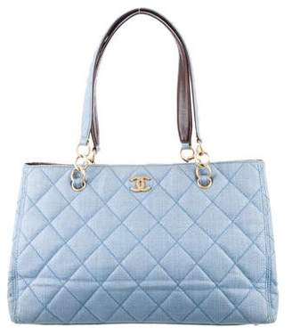Chanel Quilted Straw CC Tote