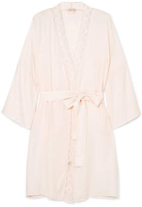Hanro Liane Lace-trimmed Jacquard Robe - Pastel pink