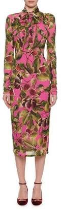 Dolce & Gabbana Long-Sleeve Tie-Neck Fig-Print Mid-Calf Dress