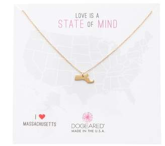 Dogeared 14K Gold Plated Sterling Silver State Of Mind Massachusetts Pendant Necklace