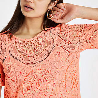 River Island Womens Orange loose fit lace T-shirt
