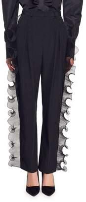 Stella McCartney Kayley Trousers with Side Organza Ruffle Trim