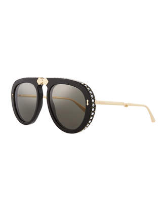 86f7832969e3 Gucci Acetate & Metal Foldable Sunglasses w/ Crystal Trim