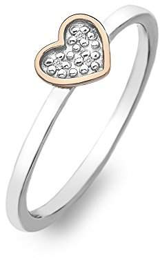 Hot Diamonds Stargazer Heart Ring - Rose Gold Plated Accents - Size N