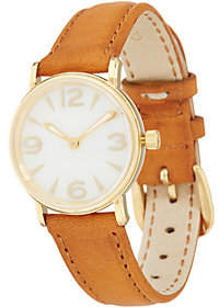 Vicence Round Case Leather Strap Watch14K Gold