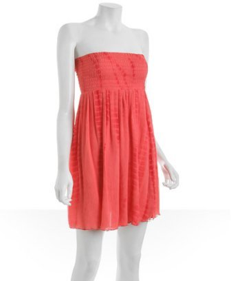 YAYA AFLALO guava smocked silk chiffon dress