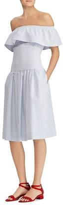 Lauren Ralph Lauren Striped Off-the-Shoulder Dress