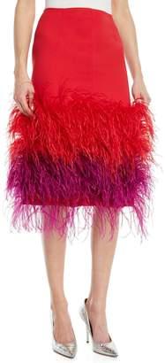 Prabal Gurung Two-Tone Feather-Hem Silk Cocktail Skirt