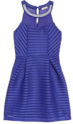 Couture Monteau Sleeveless Mesh Stripe Dress