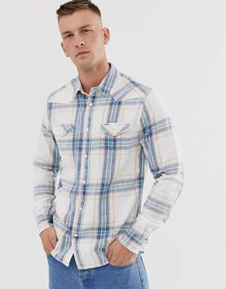 Wrangler western check shirt in cream