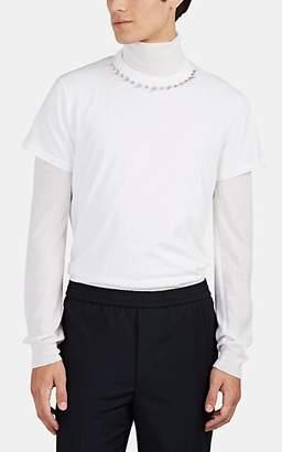 Valentino Men's Studded-Collar Cotton T-Shirt - White