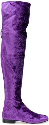 Alberta Ferretti thigh-length velvet boots