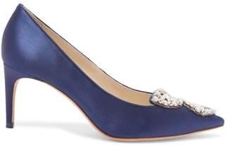 Sophia Webster Bibi Butterfly Embellished Satin Pumps - Womens - Mid Blue