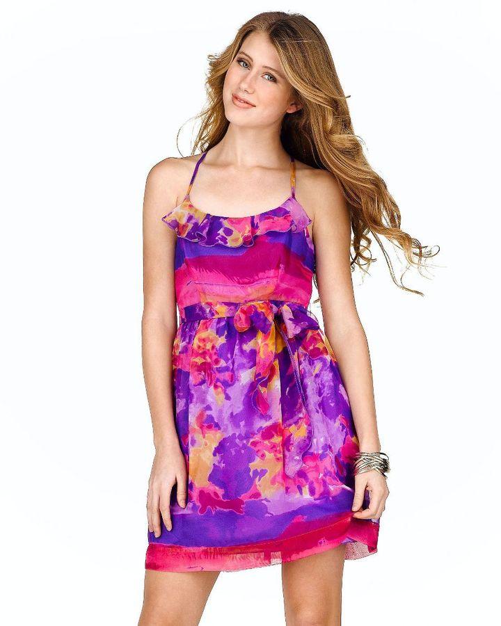 Johnny martin tie-dye ruffled dress