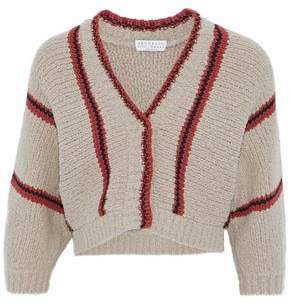 Brunello Cucinelli Cropped Striped Wool-Blend Bouclé Cardigan