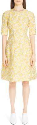 Lela Rose Holly Metallic Floral Fil Coupe Fit & Flare Dress