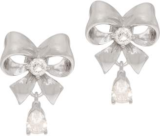 Diamonique Bow Stud Earrings, Sterling or 14K Clad