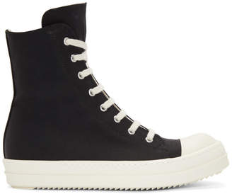 Rick Owens Black and White High-Top Sneakers