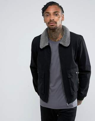 Another Influence Denim Zip Jacket with Borg