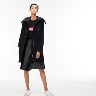 Lacoste Women's Water-Resistant Moleskin Hooded Parka