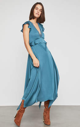 BCBGMAXAZRIA Lace-Trimmed Draped Ruffle Dress