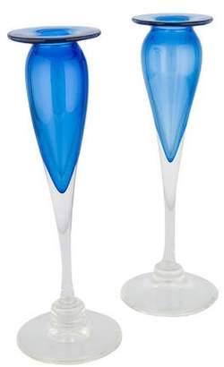 Pair of Art Glass Candlesticks