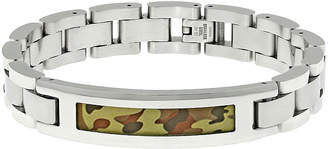 FINE JEWELRY Mens Stainless Steel ID Bracelet with Camouflage Pattern