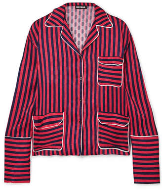 House of Holland Oversized Striped Flocked Satin Shirt - Red