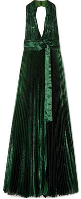 Elie Saab Open-back Pleated Silk-blend Lamé Gown - Emerald