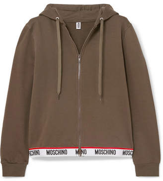 Moschino Intarsia-trimmed Stretch-cotton Fleece Hoodie - Army green