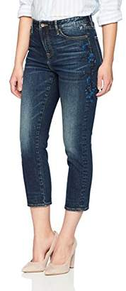 Denim Bloom Women's Super High Rise Straight Leg Crop Jean with Embroidery