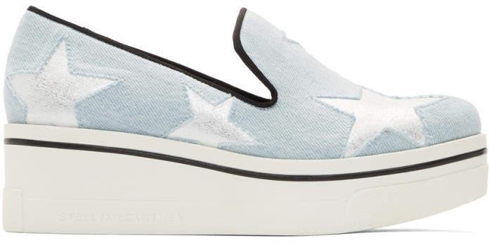 Stella McCartney Blue Denim Binx Stars Slip-On Sneakers