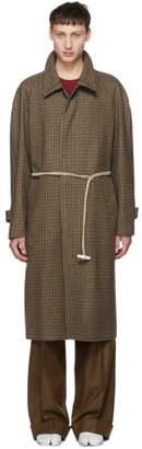 Maison Margiela Brown Houndstooth Top Coat