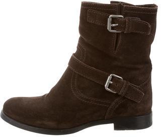 pradaPrada Suede Moto Ankle Boots