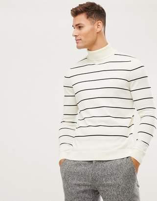 New Look roll neck sweater in cream stripe
