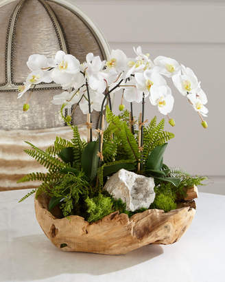 White Orchid T & C Floral Company Faux-Floral Arrangement in Wooden Bowl