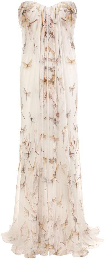 Alexander McQueen Dragonfly Print Chiffon Bustier Dress